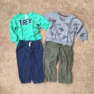 Carter's baby boy 24 mo dinosaur sweatshirt sets